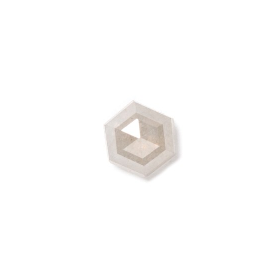 Grey Diamond Rose Cut Cabochon, Approx 3.5mm Hexagon