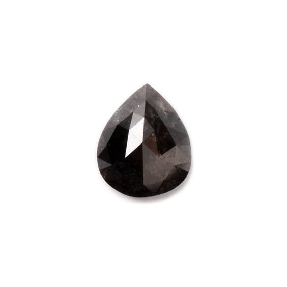 Black diamond Rose Cut Cabochon, Approx 8x6.5mm Teardrop