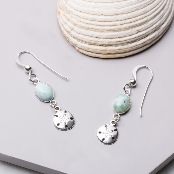 Larimar & Sand Dollar Charm Earrings
