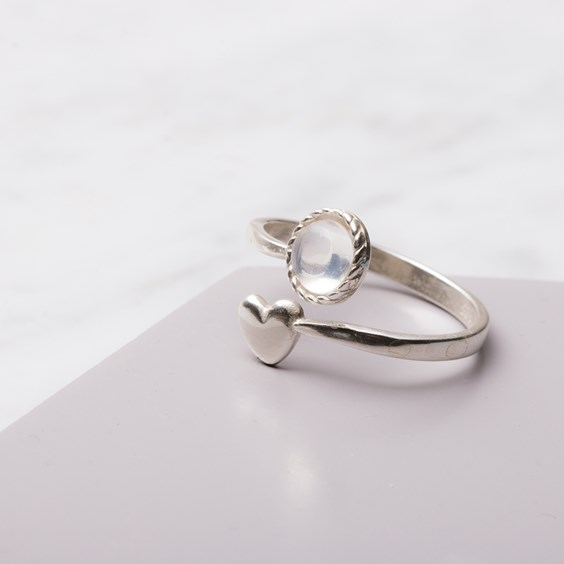 Blue Moonstone & Heart Ring