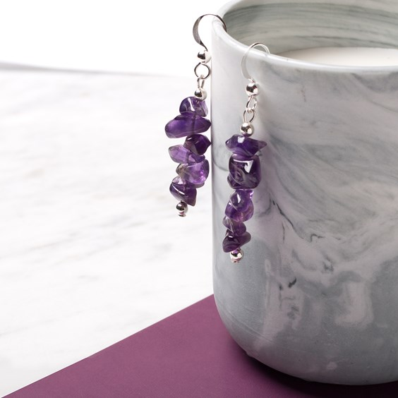 Amethyst Chip Bead & Silver Bead Earrings