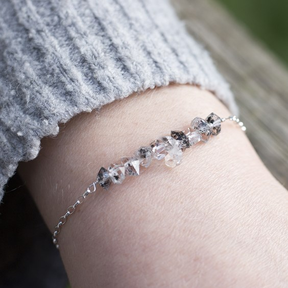 Herkimer Salt And Pepper 'Diamond' Quartz Bracelet