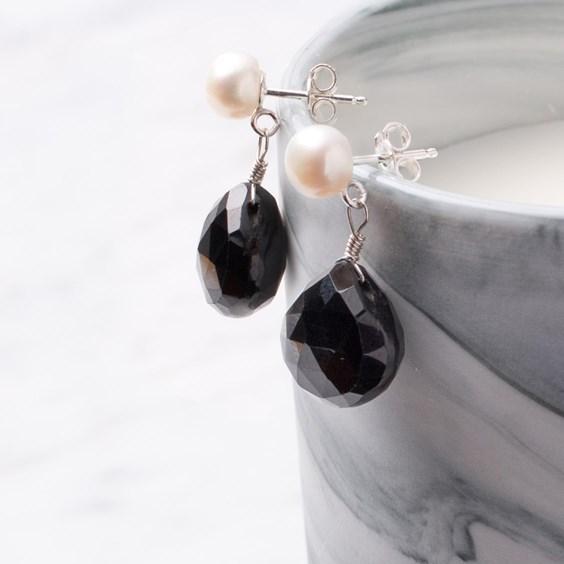 Pearl & Black Spinel Drop Earrings