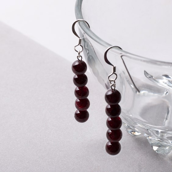Garnet Round Beads Earrings