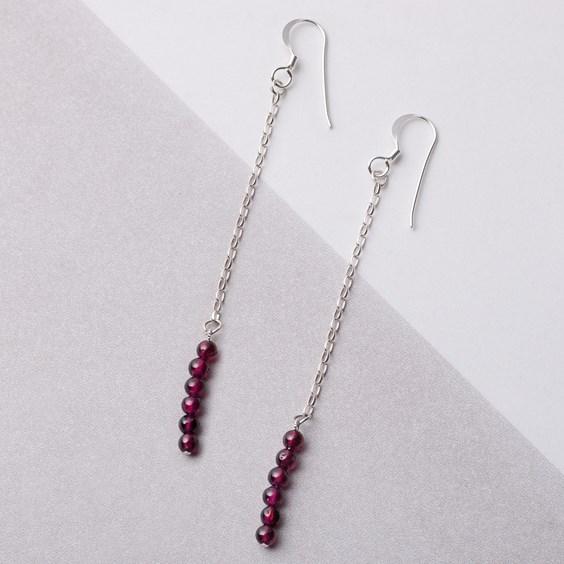 Garnet & Chain Drop Earrings