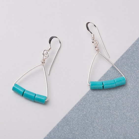 Turquoise Howlite Tube Bead Earrings