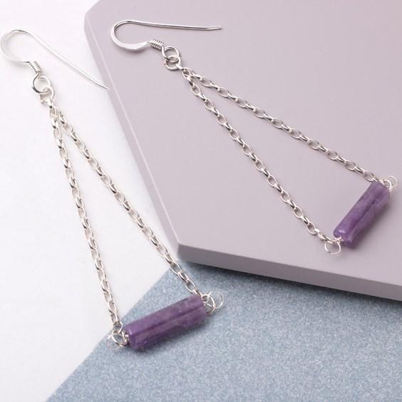 amethyst cylinder beads