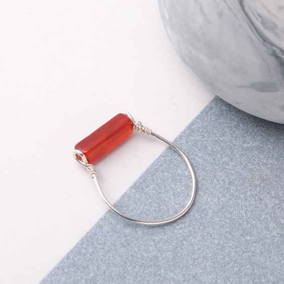 Carnelian Square Tube Bead Ring