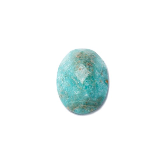 Untreated Natural Turquoise Faceted Checker Cut Stone, Approx 8x6mm Oval