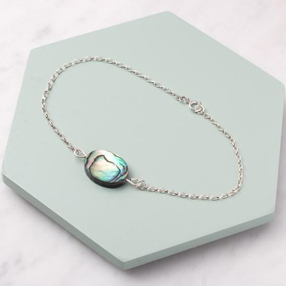 Paua Shell Oval Bead Bracelet