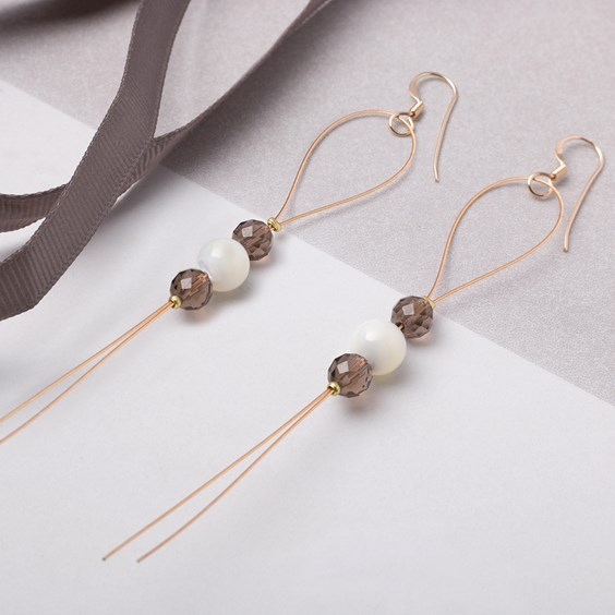 Smoky Quartz & Mother Of Pearl Earrings