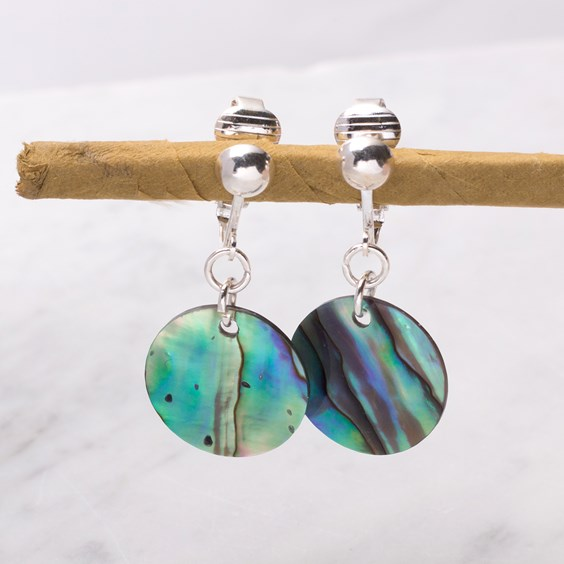 Paua Shell Clip On Earrings For Non Pierced Ears
