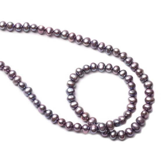 Cultured Freshwater Lilac Potato Pearls, Approx 4-5mm