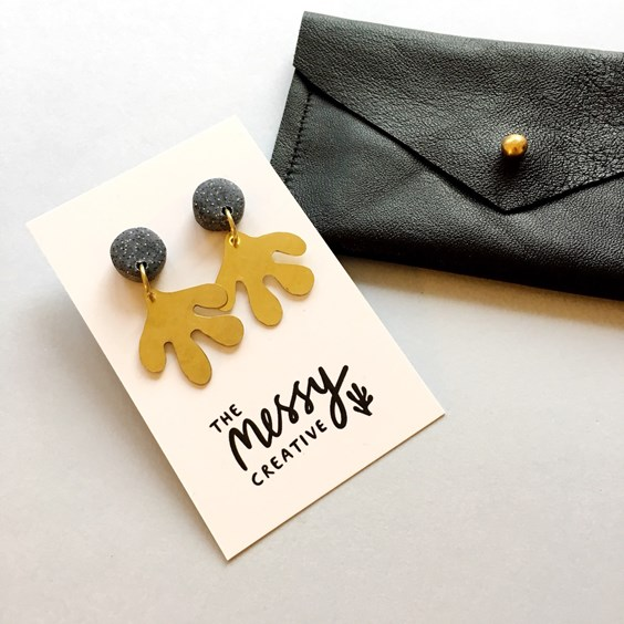 brass & polymer clay earrings