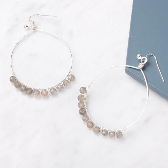 Labradorite Bead Hoop Earrings