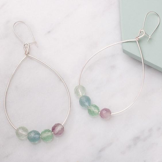 Rainbow Fluorite Hoop Earrings
