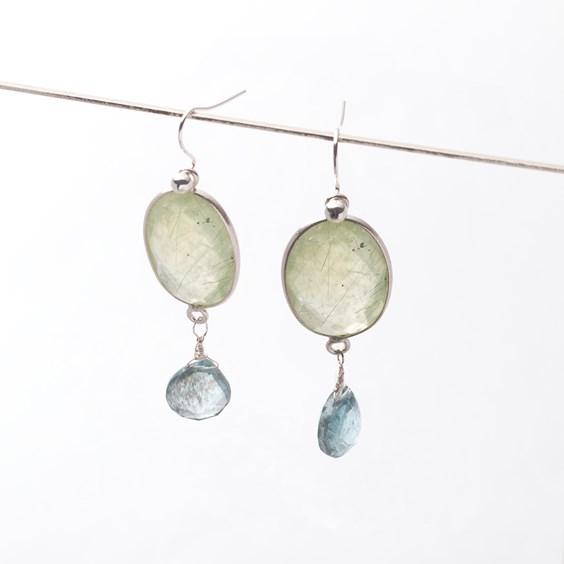 Prehnite & Moss Aquamarine Earrings