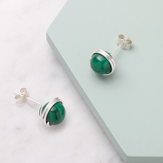 Malachite Bead Earrings