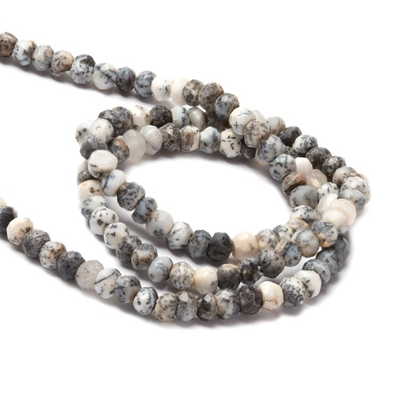 Dendrite Opal Faceted Rondelle Beads, Approx From 3.5x2.5mm
