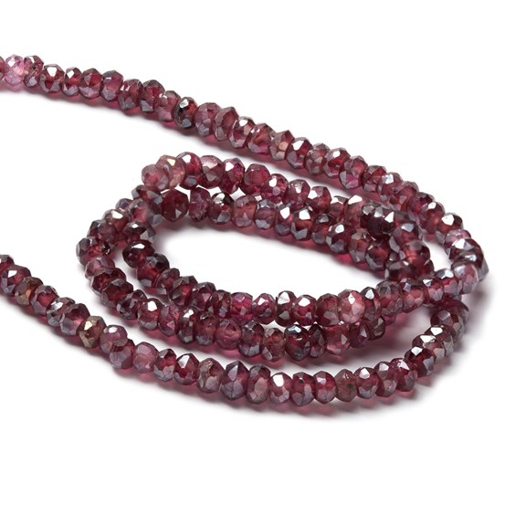 Garnet Faceted Rondelle Beads, Approx 3mm