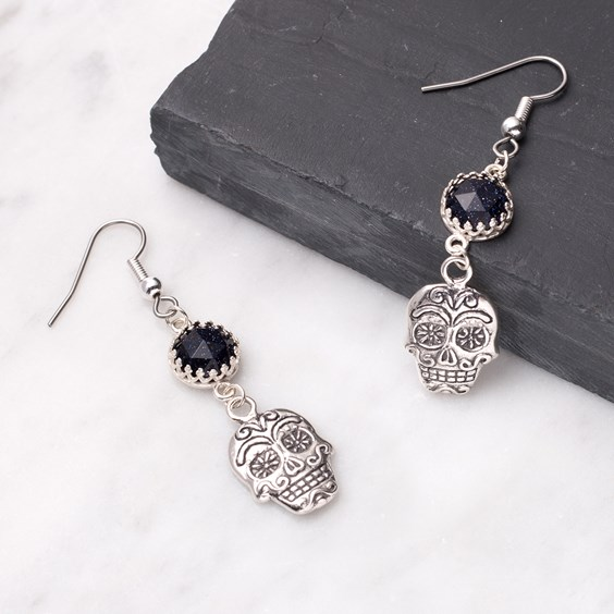 Blue Goldstone and Sugar Skull Earrings