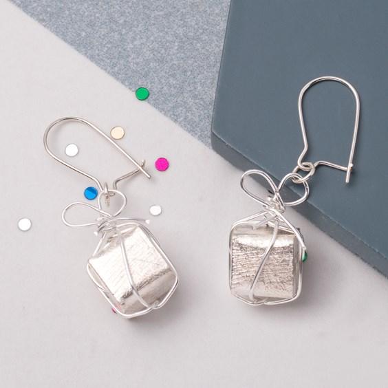 Silver Cube Bead Present Earrings