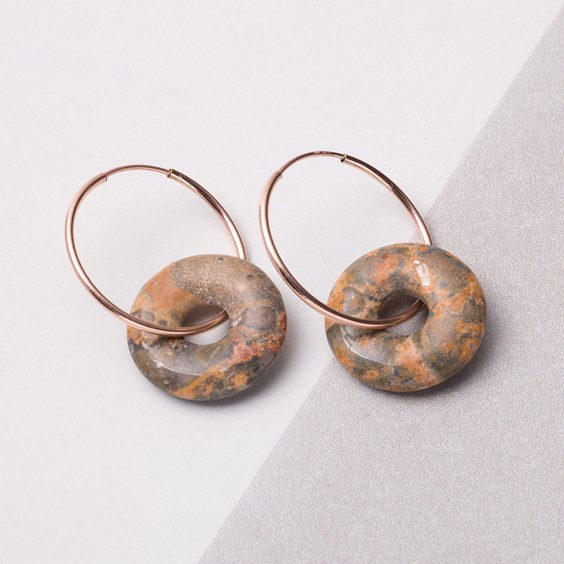 Rhyolite Donut Rose Gold Hoops