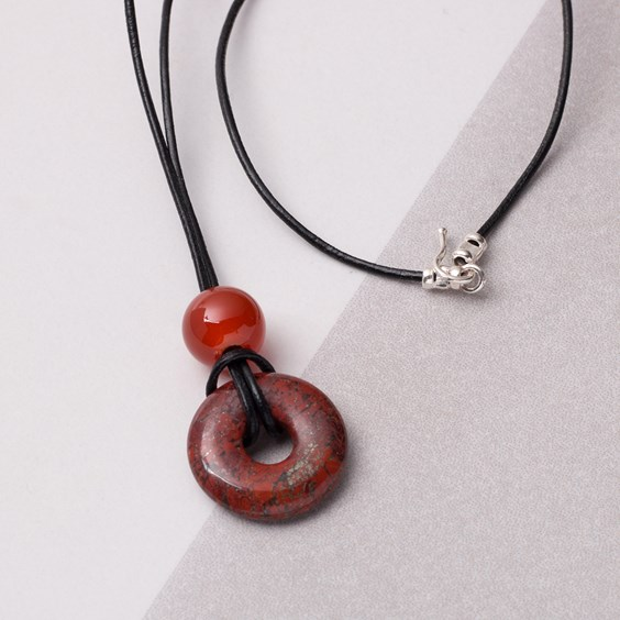Brecciated Jasper Donut & Carnelian Necklace