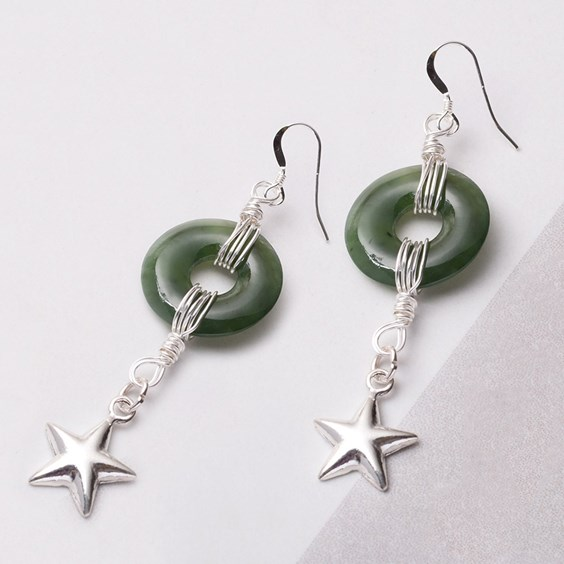 JADE DONUT WIRE WRAPPED STAR EARRINGS
