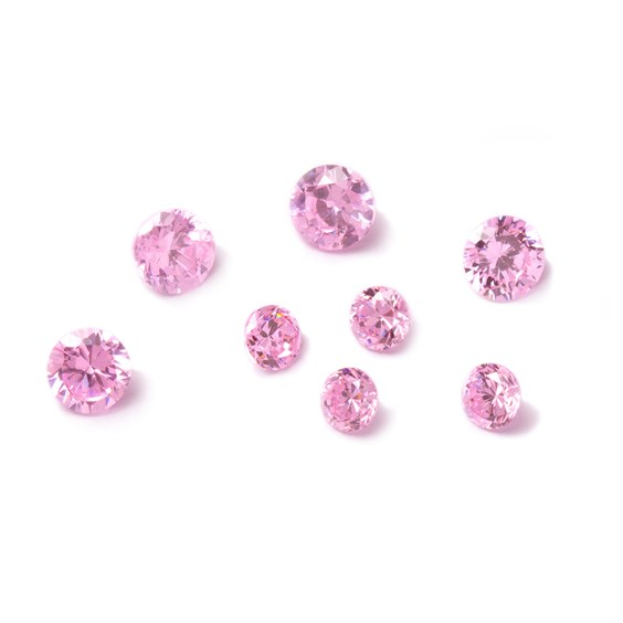 Pastel Pink Cubic Zirconia Faceted Stones