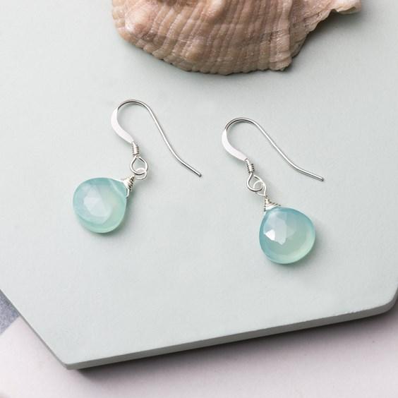 Wire Wrapped Aqua Blue Chalcedony Briolette Earrings