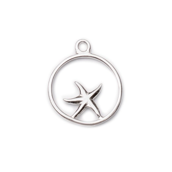 Sterling Silver Circular Starfish Pendant Charm