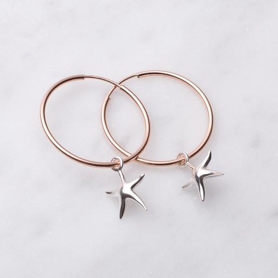 Rose Gold & Silver Starfish Hoop Earrings