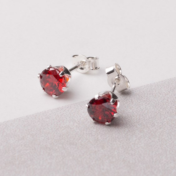 Garnet Coloured Cubic Zirconia Snaptite Earrings
