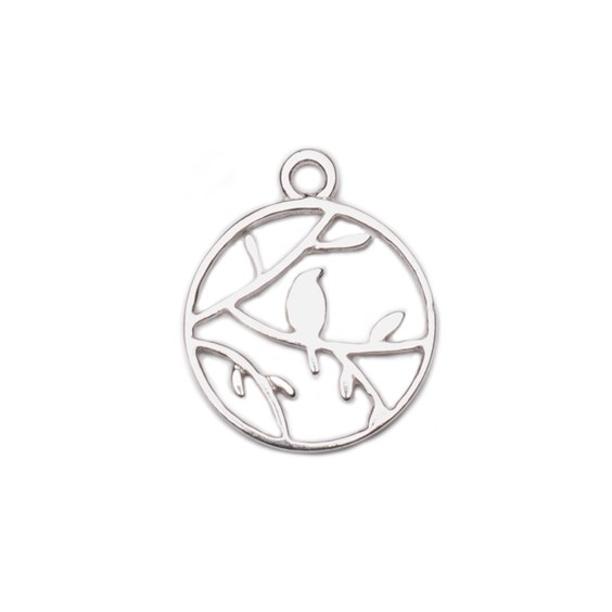 Sterling Silver Round Bird In A Tree Pendant Charm