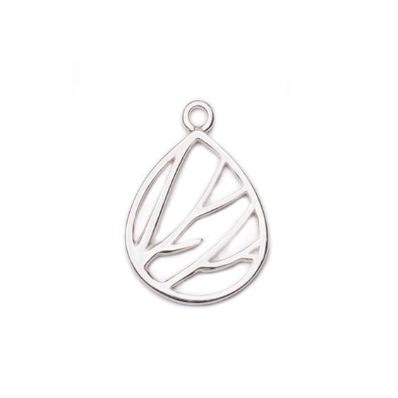 Sterling Silver Teardrop Branch Charm