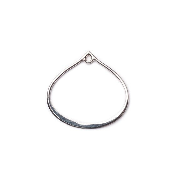 Sterling Silver Open Teardrop Charm, Approx 20x20mm
