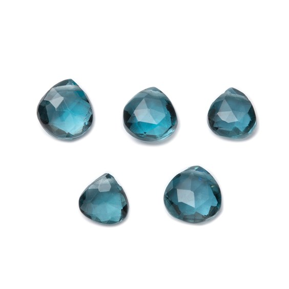 London Blue Topaz Faceted Heart Shape Briolette Beads, Approx From 5mm to 9mm