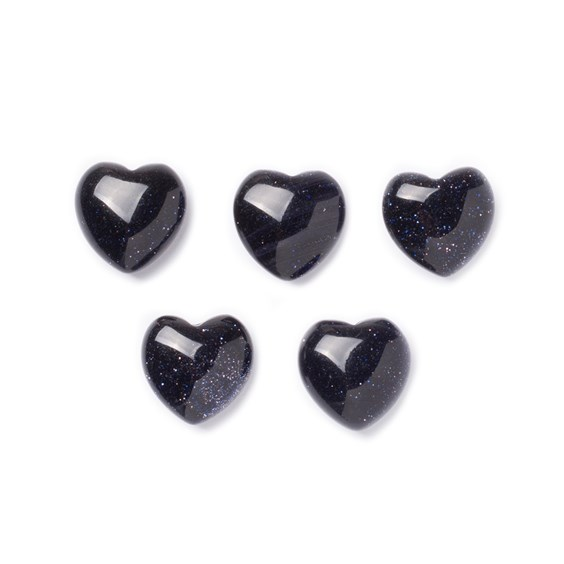 Blue Goldstone Top Drilled Gemstone Hearts, Approx 10mm