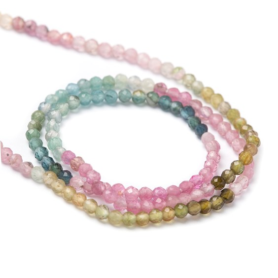 Watermelon Tourmaline Faceted Round Beads, Approx 2mm