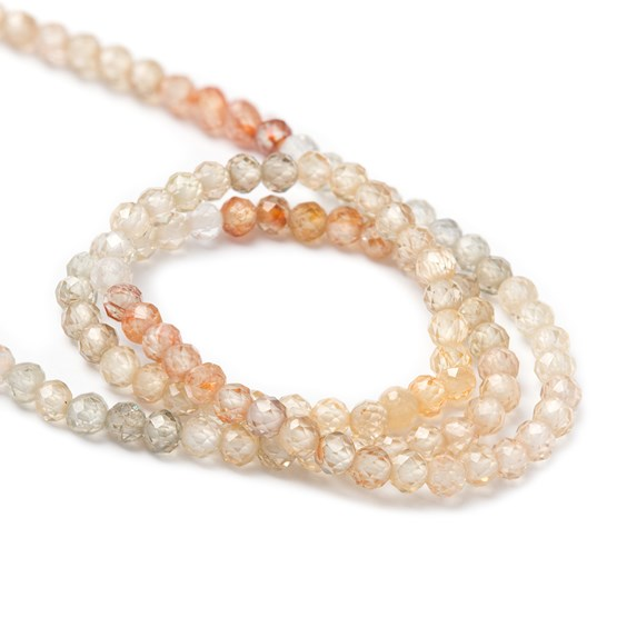 Champagne Zircon Ombre Faceted Round Beads, Approx 2.5mm