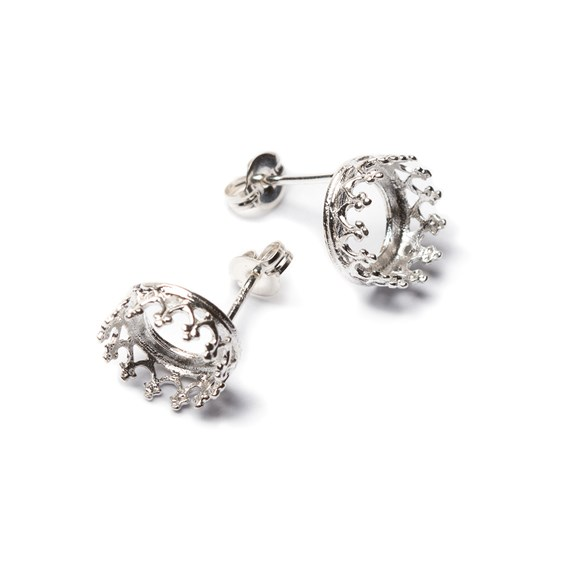Sterling Silver Gallery Wire  Earstuds For Cabochon Stones (Pair)