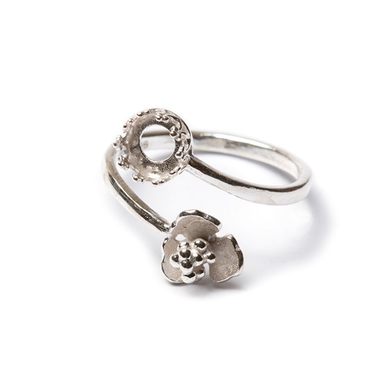 Sterling Silver Adjustable Gallery Flower Ring For 6mm Round Cabochon