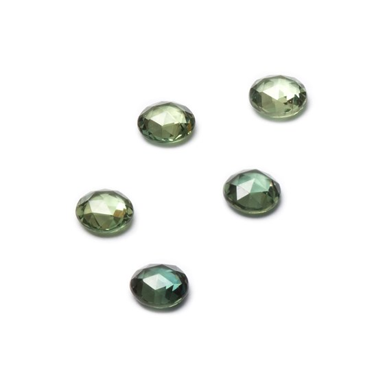 Green Sapphire Rose Cut Cabochons, Approx 3-3.5mm Round