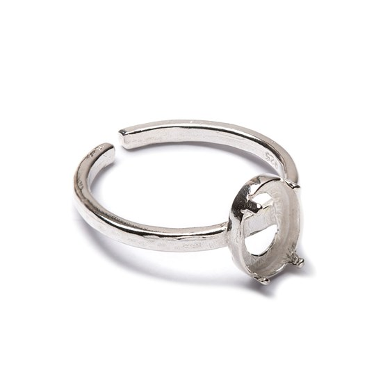 Sterling Silver Adjustable Textured Ring with Decorative Claw For 8x6mm Oval Cabochon