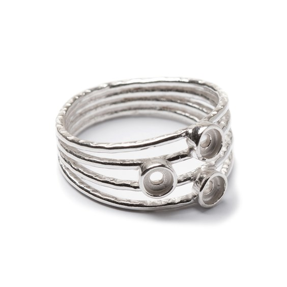 Sterling Silver Ring with Plain Bezel Cups For 3mm Cabochon Stones