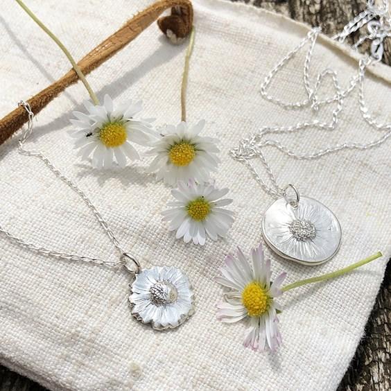 metal clay flower pendants