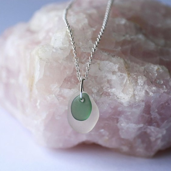created by niki sea glass necklace on crystal