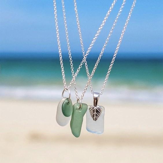 sea glass jewellery at the beach