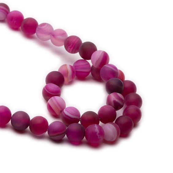 Pink Frosted Banded Agate Round Beads